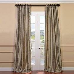 Half Price Drapes DIS-ID7806-84 Cashmere Textured Dupioni Silk Curtain, Brown