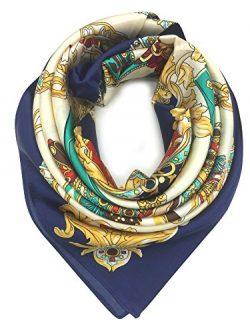 YOUR SMILE Silk Like Scarf Women's Fashion Pattern Large Square Satin Headscarf (Saddle /  ...