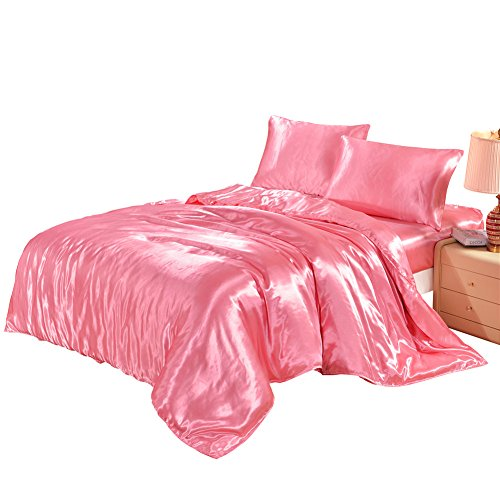 Hotel Quality Pink Duvet Cover Set Twin Single Size Silk