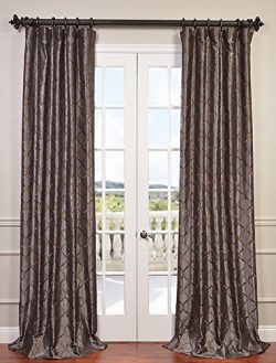 Half Price Drapes EFSCH-14081A-84 Embroidered Faux Silk Taffeta Curtain, Tunisia Smoke