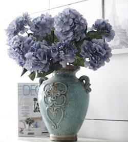 Helen Ou@ 1 Bunch 6 Heads Artificial Hydrangea Bridal Bouquet Silk Flowers Arrangement for Home  ...