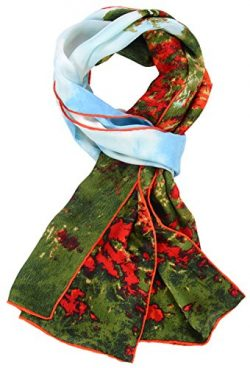 Salutto Women 100% Silk Scarves Field Walk Painted Scarves