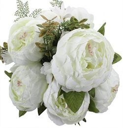 Duovlo Springs Flowers Artificial Silk Peony bouquets Wedding Home Decoration,Pack of 1 (Spring  ...