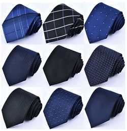 YanLen Lot 9 PCS Classic Men's Polyester Silk Tie Necktie Woven JACQUARD Neck Ties (Set 8)