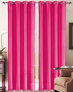 Simple Elegance New York Faux Silk Window Curtain with 8 Metal Grommets, Pink