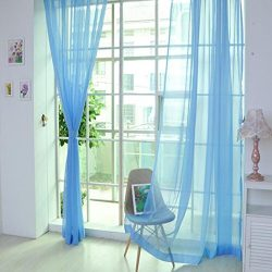 Kanzd 1 PCS Pure Color Tulle Door Window Curtain Drape Panel Sheer Scarf Valances Window Gauze H ...