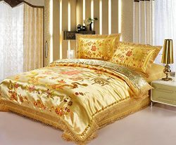Best Jacquard Chinese Wedding Bed Set Dragon Phoenix Double Blessing Embroidery Lace Silk Comfor ...