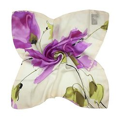 TONY & CANDICE Women's Graphic Print 100% Silk, Silk Scarf Square , 33X33 Inches (Pink ...