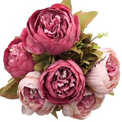 Luyue Vintage Artificial Peony Silk Flowers Bouquet, Dark Pink