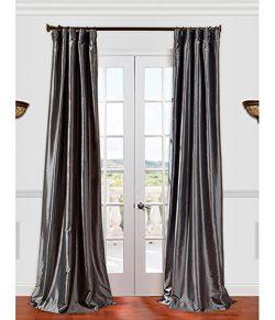 Half Price Drapes PTCH-JTSP005-96 Faux Silk Taffeta Curtain, Graphite