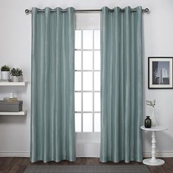 Exclusive Home Chatra Faux Silk Grommet Top Window Curtain Panels (Set of 2), 54″ x 96&#82 ...
