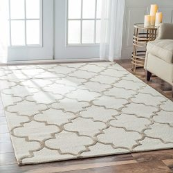 Handmade Moroccan Trellis Faux Silk Wool Nickel Area Rugs, 10 Feet by 14 Feet (10′ x 14&#8 ...