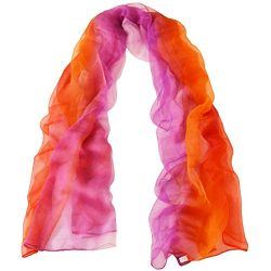 TONY AND CANDICE 100% Silk Extra Long Oblong Silk Scarf,65″L41″W (Color 7)