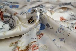 Maxfeel 100% Charmuse Silk Floral Fabric 45 Wide for Bedding Dress By the Yard (Sold By Half a Y ...