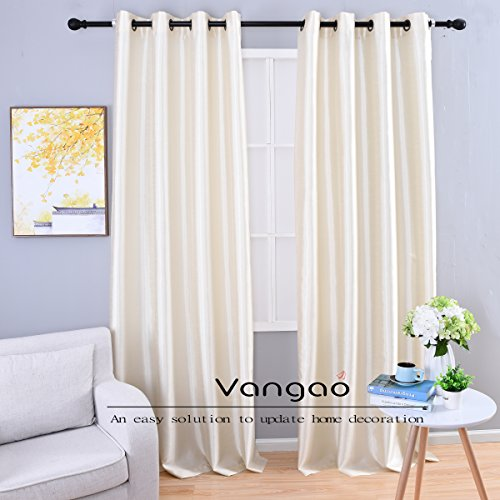 Vangao Ivory White Faux Silk Window Curtains 2 Grommet