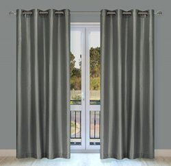 Silkana Faux Silk Grommet Curtain Panels (Set of 2)  56×88-in, Grey Taupe