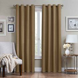 Eclipse 12968052095LAT Wyndham 52-Inch by 95-Inch Grommet Brushed Nickel Blackout Single Window  ...