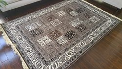 Brown Grey Ivory Black New Silk Traditional Panal Squares Area Rugs Ultra Low Pile 5'2&#21 ...