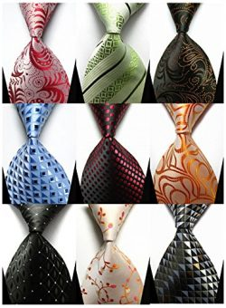 YanLen Lot 9 PCS Classic Men's 100% Silk Tie Necktie Woven JACQUARD Neck Ties (Set 1)