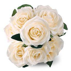 SOLEDI 10 Head French Rose Silk Flower Arrangement Artificial Fake Bouquet Wedding Living Room T ...