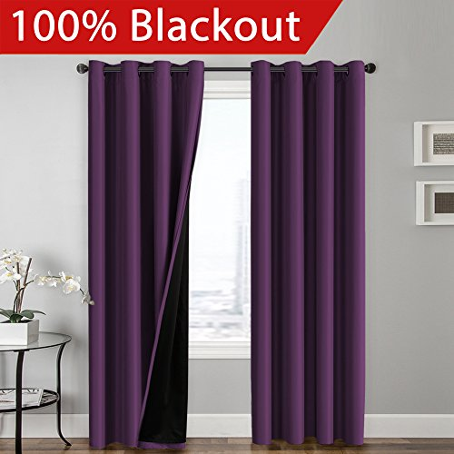 Thermal Blackout Curtains Reddit: FlamingoP Full Blackout Indigo Plum Curtains Faux Silk