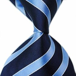 MENDENG New Men's Dark Blue Light Blue Striped Silk Tie Business Wedding Necktie