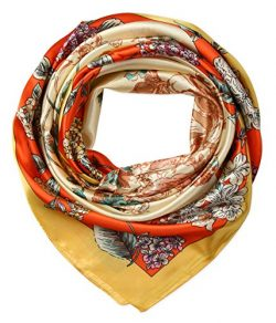 corciova Women's Large Satin Square Silk Feeling Hair Scarf 35 x 35 inches Flowers Selecti ...