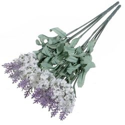 1x 10 Heads Artificial Lavender Silk Flower for Bouquets Wedding Home Party Decor (White)
