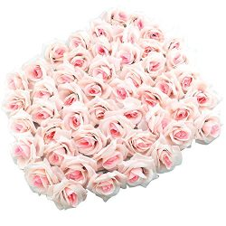 Topixdeals Silk Cream Roses Flower Head, Artificial Flowers Heads for Wedding Flowers Accessorie ...