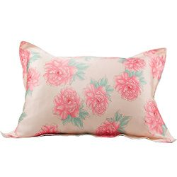 IBraFashion Silk Pillowcase for Hair and Skin Beauty Pink Peony Flowers Print Standard/Queen