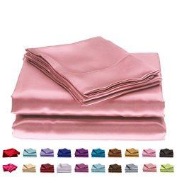 Lotus Karen Solid Color 4PC Fitted Sheet Set Satin Like Silk Bedding Set For Home Textile Duvet  ...