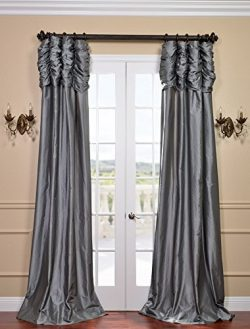 Half Price Drapes PTCH-112-84-RU Ruched Faux Silk Taffeta Curtain, Platinum