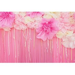 KonPon 5x7ft Silk Cloth Pink Curtain Photography Backdrops Photo Props Studio Background KP-035