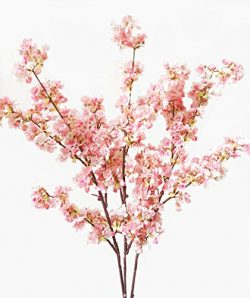 39 Inch Artificial Cherry Blossom Branches Flowers Silk Peach Flowers Arrangements for Home Wedd ...