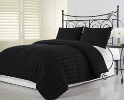 Chezmoi Collection 3-Piece Hotel Dobby Stripe Down Alternative Comforter Set, Full/Queen, Black