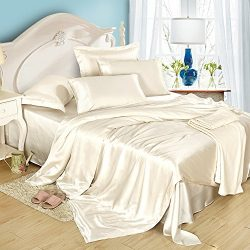LILYSILK 4Pcs Silk Bedding Sheets Flat Sheet Fitted Sheet Oxford Pillowcases Set 19 Momme Pure S ...
