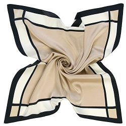 K-ELeven Silk Scarf Women's Square Satin Hair Scarf 23.6 x 23.6 inches SK072-B