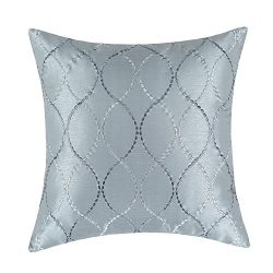 CaliTime Pillow Shell Cushion Cover Faux Silk Modern Waves Geometric Embroidered 18 X 18 Inches Gray
