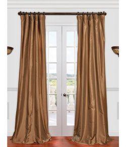 Half Price Drapes PTCH-JTSP206-84 Faux Silk Taffeta Curtain, Gold Nugget