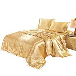 Hotel Quality Golden Duvet Cover Set Queen/Full Size Satin Silk Like Bedding Quilt / Comforter c ...
