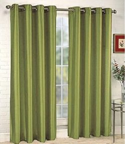Gorgeous Home 1 PANEL SOLID SAGE GREEN SEMI SHEER WINDOW FAUX SILK ANTIQUE BRONZE GROMMETS CURTA ...