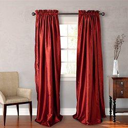 Heritage Landing Faux Silk Window Panel Pair, 96″, Paprika