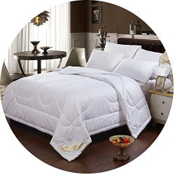 QZBAOSHU Natural Silk 1 CM Thin Comforter for Summer Solid Color Bed Quilt, Light Weight Filled  ...