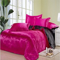 Newrara Summer Solid Color Satin Double-sided Silk Fabrics Silk Bedding 4pcs (King (not include  ...