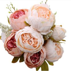 Luyue Vintage Artificial Peony Silk Flowers Bouquet, Light Pink