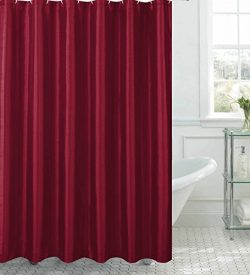 Jane Faux Silk Shower Curtain with 12 Metal Rings, Burgundy