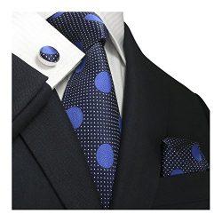 Landisun SILK Polka Dots Mens SILK Tie Set: Necktie+Hanky+Cufflinks (3.25″Wx59″L, 18 ...