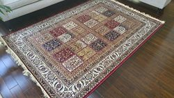 True Red Ivory Navy Sage Camel New Silk Traditional Panal Squares Area Rugs Ultra Low Pile 8&#82 ...