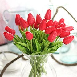 10PCS/LOT high quality PU Stunning Holland mini tulip flower real touch wedding flower artificia ...