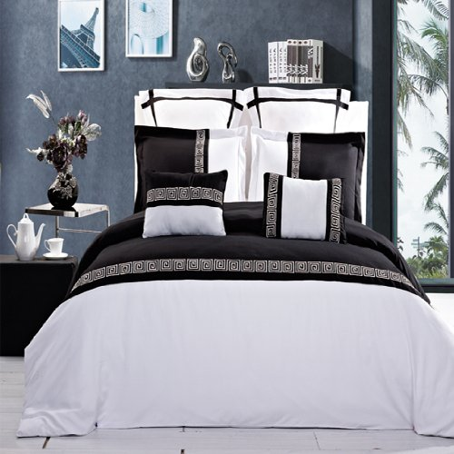 LUXURIOUS Astrid Black & White Embroidered 12 Piece (12PC) King Size COMFORTER SET, Ultra So ...